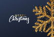 Christmas background with Shining gold Snowflakes. Lettering Merry Christmas card vector Illustration. - 228051983