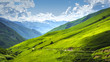 Alpine valley landscape. Scenery mountains on sunny bright day. Mountain landscape