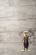 Funny vegetable man made on wooden background