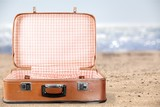 Empty Vintage Suitcase open isolated on green - 228056703