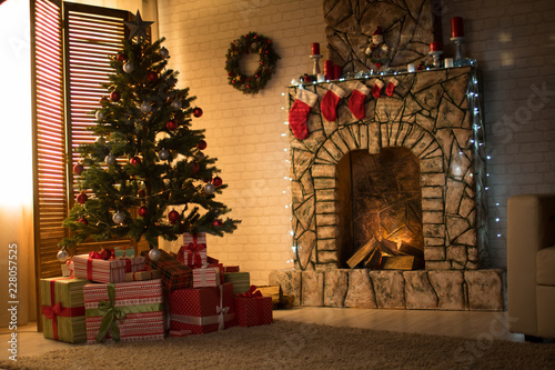 Foto Murales Christmas interior with Christmas