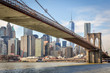 Brooklyn bridge from below with Manhattan in Background