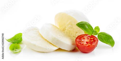 Leinwandbild Motiv Mozzarella cheese on white background