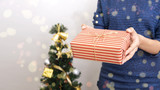 women hand holding gift box and  christmas tree for happy new year concept.