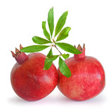 Pomegranate fruits and twig  isolated on white background