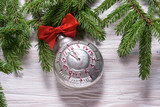 Christmas tree ornament, vintage alarm clock, textured background - 228065364