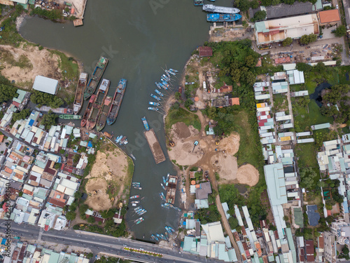 Foto Murales Commercial harbor and factories from above