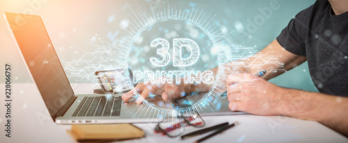 Graphic designer using 3D printing digital hologram 3D rendering
