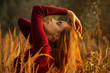 Leinwandbild Motiv sad autumn girl