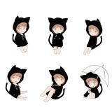 Cat hood cute cartoon charactor in actions