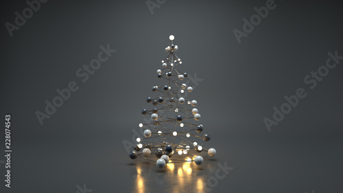 Wireframe mesh of christmas tree 3D render