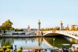 Alexandre bridge on Seine river during the morning light in Paris