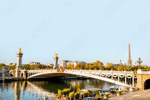 Alexandre bridge on Seine river during the morning light in Paris