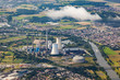 aerial of Grosskrotzenburg power station, Main river, Germany