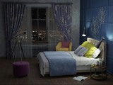 bedroom in the night with lights 3d illustration - 228078720
