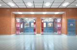 School corridor interior exit. 3d illustration - 228078917