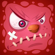 Funny, cute crazy monster character. Halloween illustration. Vector eps 10 - 228080104