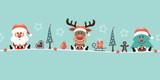 Card Santa, Rudolph & Tree Symbols Retro