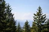 Sunny mountain view of the European Alps