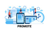 business people successful teamwork strategy promote concept flat horizontal vector illustration - 228084361