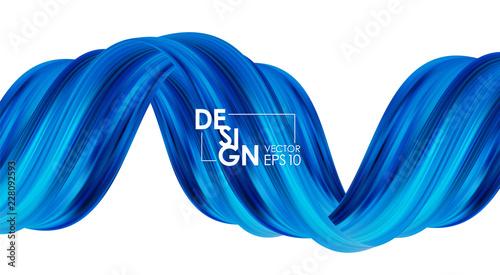 Wektorowa ilustracja: Nowożytny abstrakcjonistyczny sztandaru tło z 3d skręcał błękitnego przepływu ciekłego kształt. Farba akrylowa.