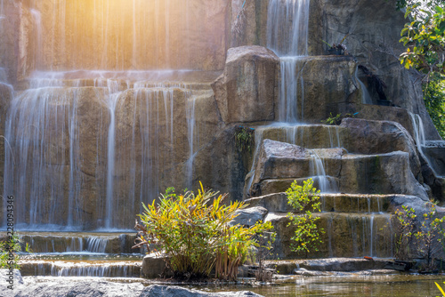Waterfall in garden at the public park - 228094346