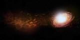 Runde Galaxie mit Nebel