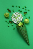 waffle horn with candy, green color style - 228109395