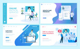 Set of web page design templates for online medical support, health care,  laboratory, medical services. Modern vector illustration concepts for website and mobile website development.  - 228111793