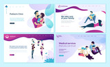 Set of web page design templates for family doctor, pediatric clinic, healthy life. Modern vector illustration concepts for website and mobile website development.  - 228111904