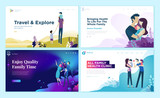 Set of web page design templates for family health care, travel and enjoying family activities. Modern vector illustration concepts for website and mobile website development.  - 228111981