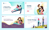 Set of web page design templates for family finance, health care, family therapy. Modern vector illustration concepts for website and mobile website development.  - 228113904
