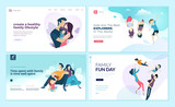 Set of web page design templates for family fun and entertainment, children's activities, healthy and safe environment for the family. Vector illustration concepts for website development.  - 228113958