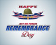 Holiday design, background with 3d texts, army helmet and national flag colors for British Remembrance day event, celebration; Vector celebration