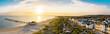 Leinwanddruck Bild Luftbild Ahlbecker Strand mit Seebrücke und Promenade