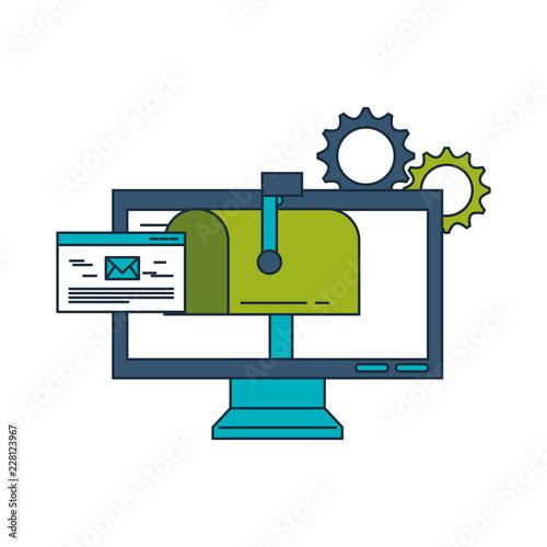 Fridge magnet business computer email message gears work