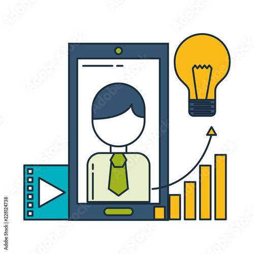 Fridge magnet smartphone business character chart bulb idea