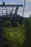 Cable-way through the forest with blue sky in the background. Green forest uner the rope way