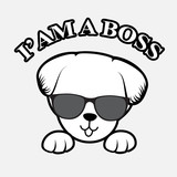 Poster dog isolated a white background and the inscription, here I am a boss. - 228132788