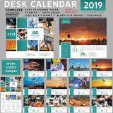 Desk calendar 2019, desktop calendar template, red calendar, Week starts on Monday, Vector Illustration, suitable for company, spiral calendar, teal calendar - 228136508