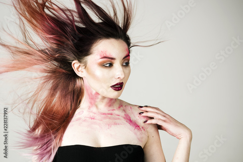 Leinwandbild Motiv Beauty salon and hairdresser. Makeup cosmetics and skincare. Hair loss and care. Sexy woman with fashion makeup. Sexy girl with fashion makeup. Halloween. Facial care. Following her personal style