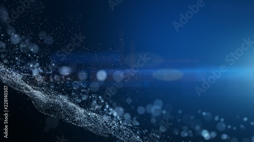 blue background, digital signature with wave particles, sparkle, veil and space with depth of field. The particles are white light lines. - 228140307