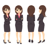 Happy young adult businesswoman from different angle view - 228143133
