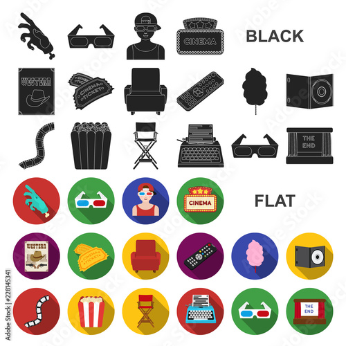 Films and cinema flat icons in set collection for design.Movies and Attributes vector symbol stock web illustration. © pandavector