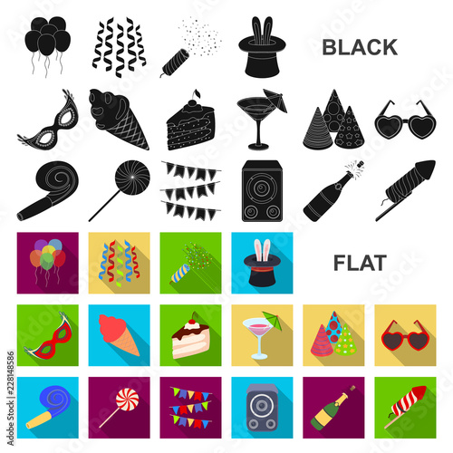 Party, entertainment flat icons in set collection for design. Celebration and treat vector symbol stock web illustration. © pandavector