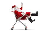 Santa Claus sitting inside a shopping cart - 228152926