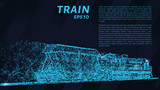 Train of particles. Train with one railcar.
