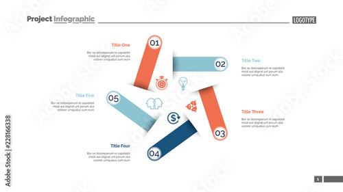 Five steps process chart slide template  Business data