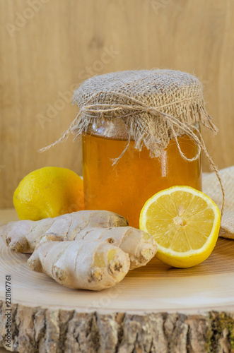 honey, ginger and lemon are natural ingredients - 228167761