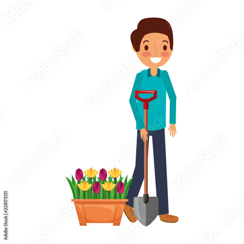 Poster man garden potted flowers and shovel